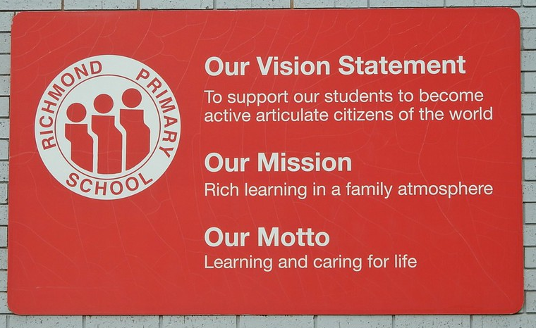 Sign outside of a school showing their vision and mission statements.