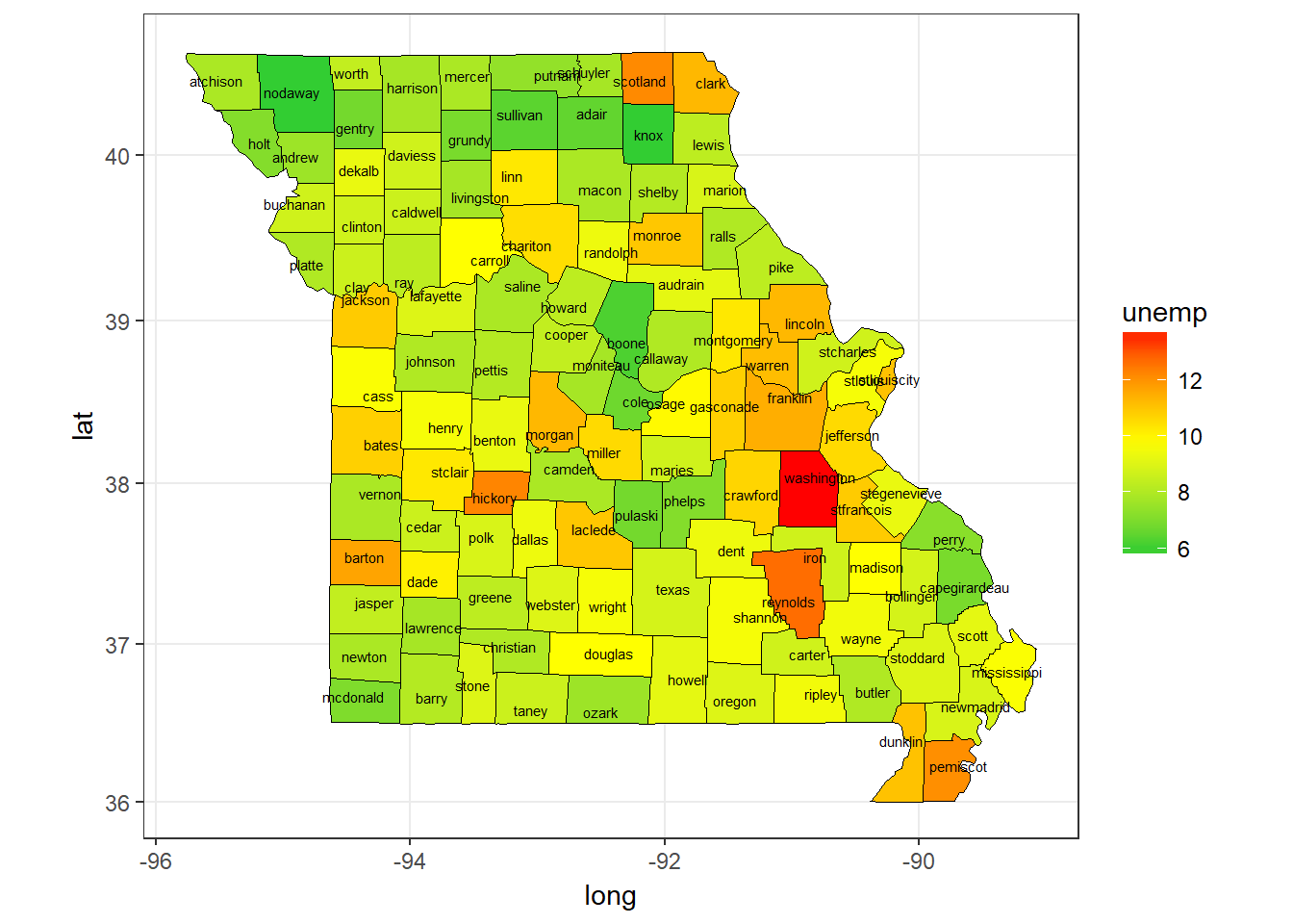 Missouri Unemployment Rate by County, 2009