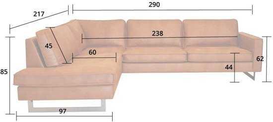 Hoekbank Riverdance Chaise Longue Links Leer Colorado Cognac 03 2 17 X 2 90 Mtr Breed 9200000077019671_3 44 cm
