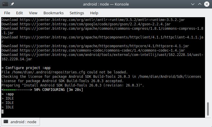 Proses kompilasi aplikasi react native ke apk