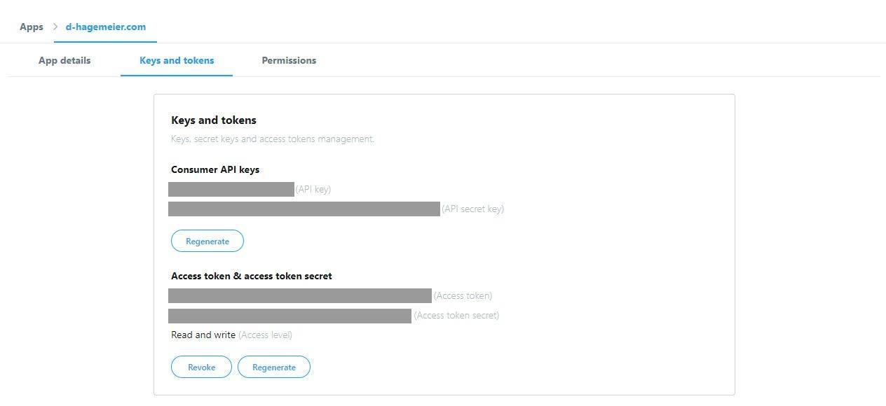 Twitter Developer API Keys