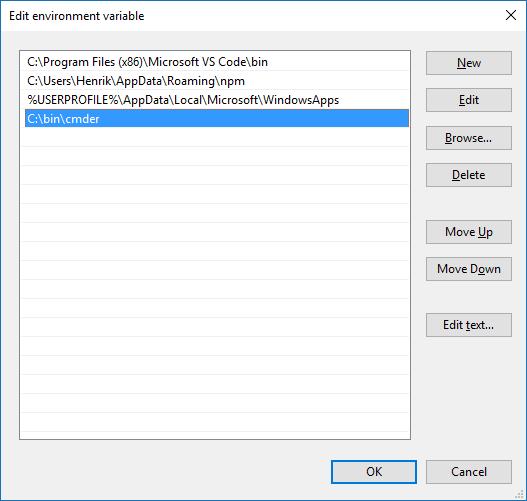 Path variable edit dialogue