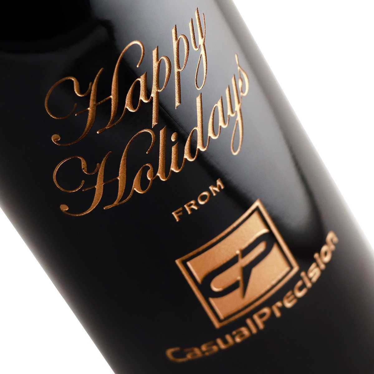 etched corporate gift red wine bottle engraved for holiday gifts