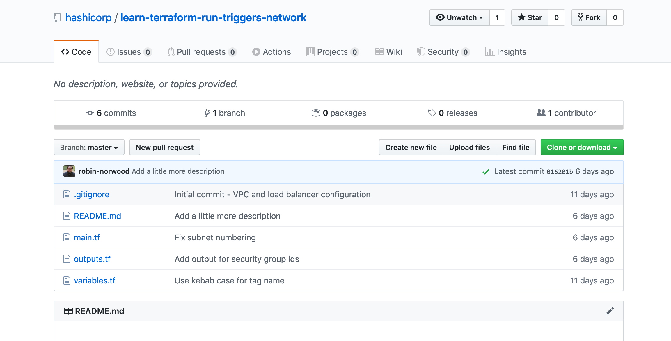 GitHub repository for network workspace
