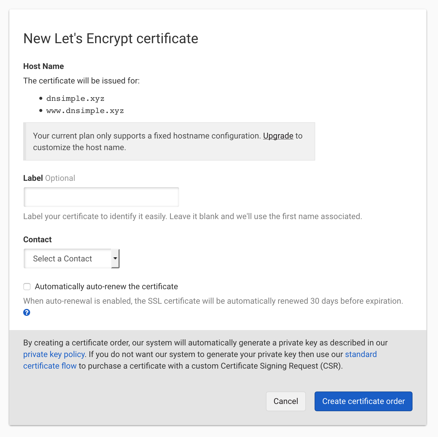 Let's Encrypt with fixed names