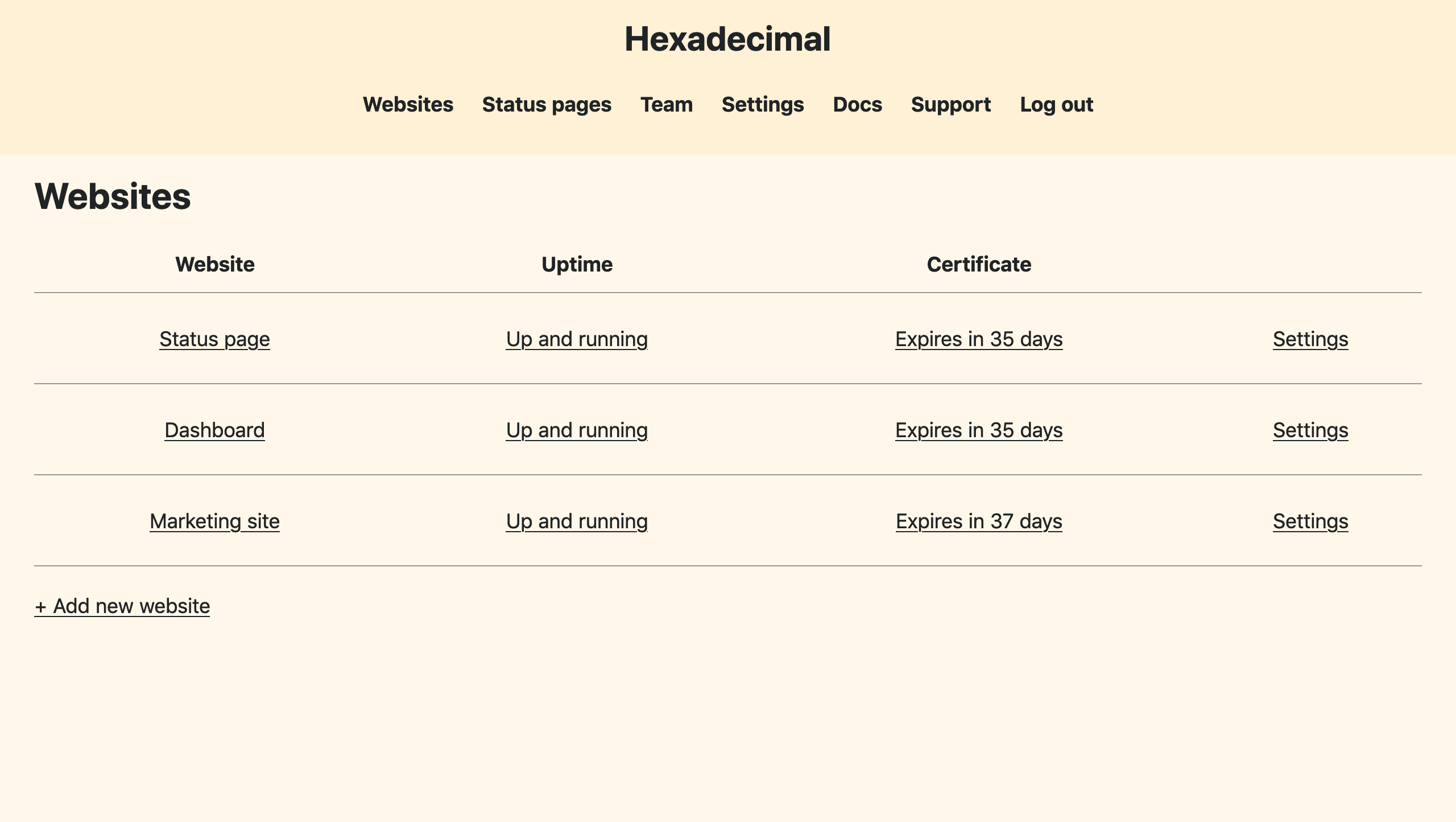 Hexadecimal's dashboard with 3 monitored websites
