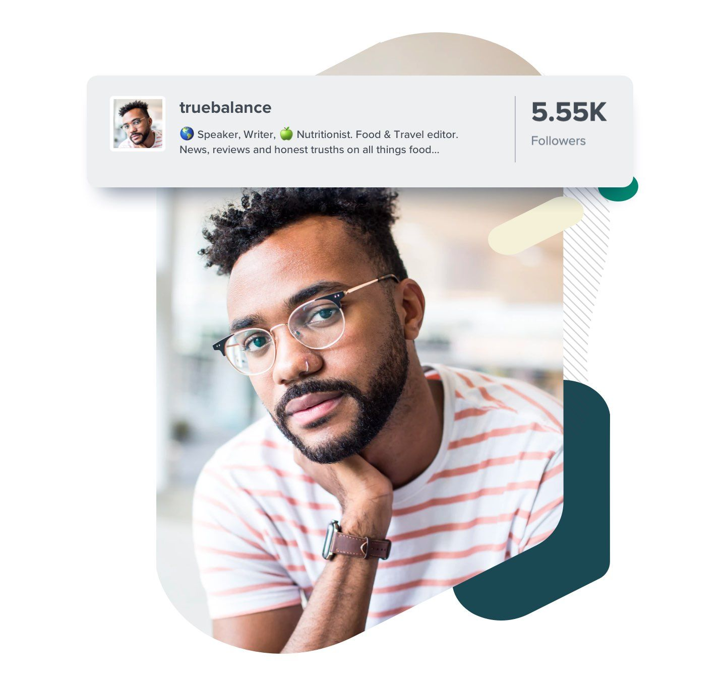 image of influencer profile with bio, followers and avatar image