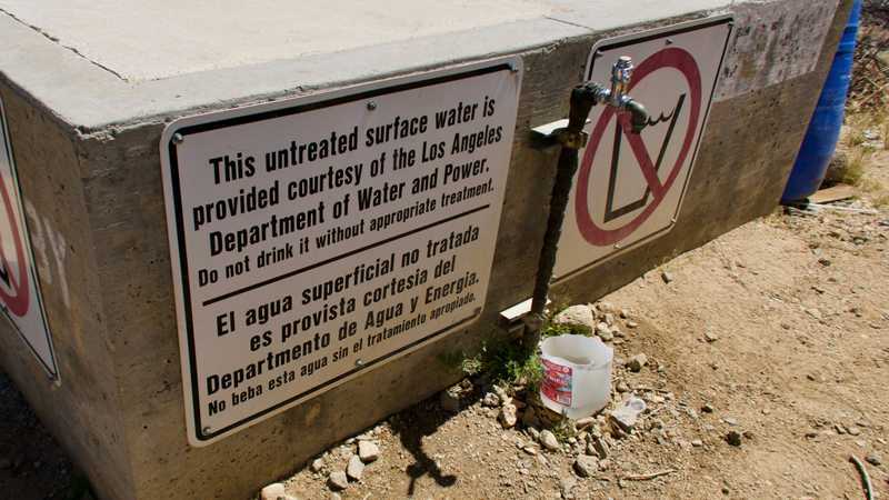 Water faucet on Los Angeles Aqueduct