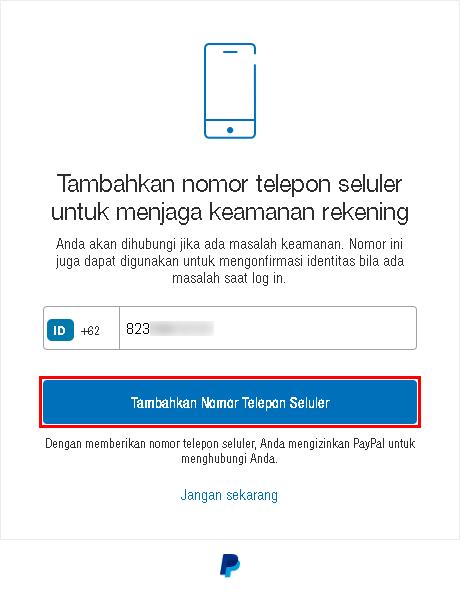 Tambahkan nomer telepon ke PayPal