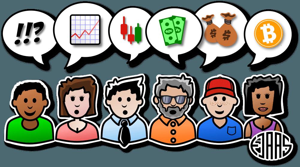 6 forskellige tegneseriefigurer som taler om trading-relaterede emner