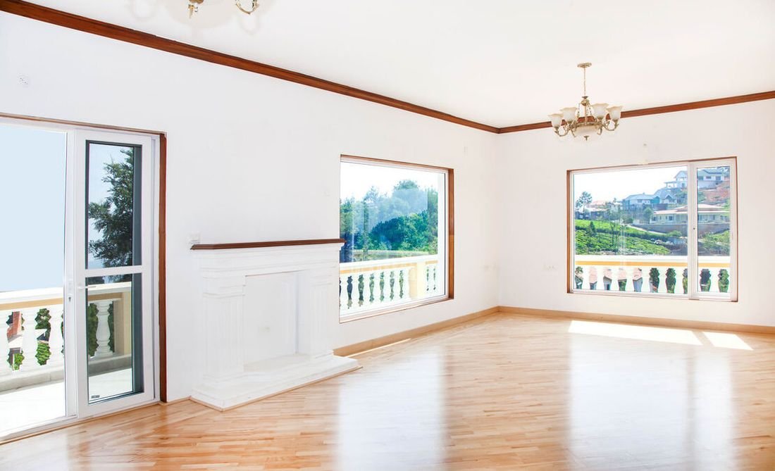The grand living room with large glass panes