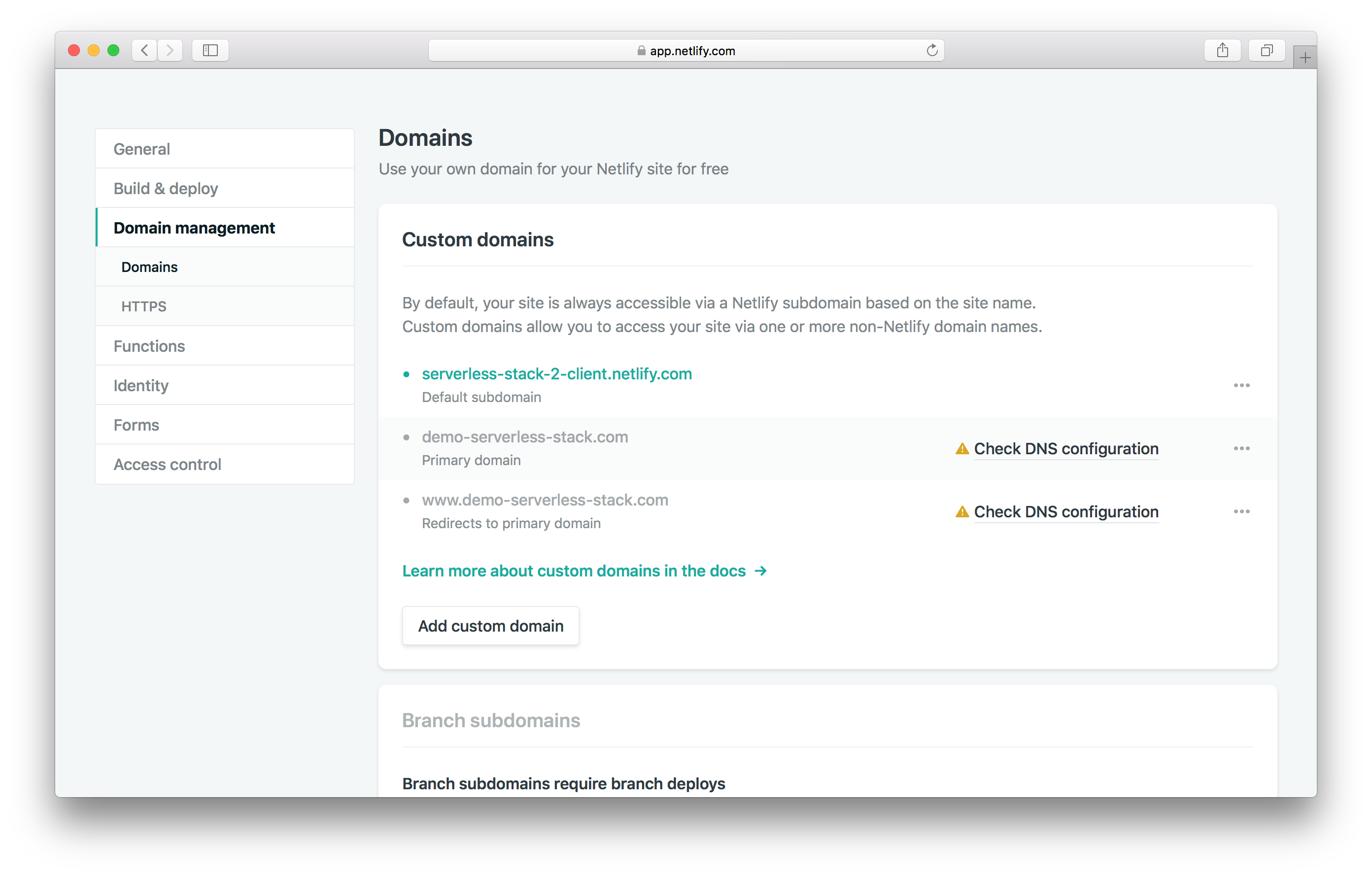 Custom domain settings added screenshot