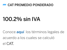 CAT promedio de tarjeta de crédito BBVA UNAM