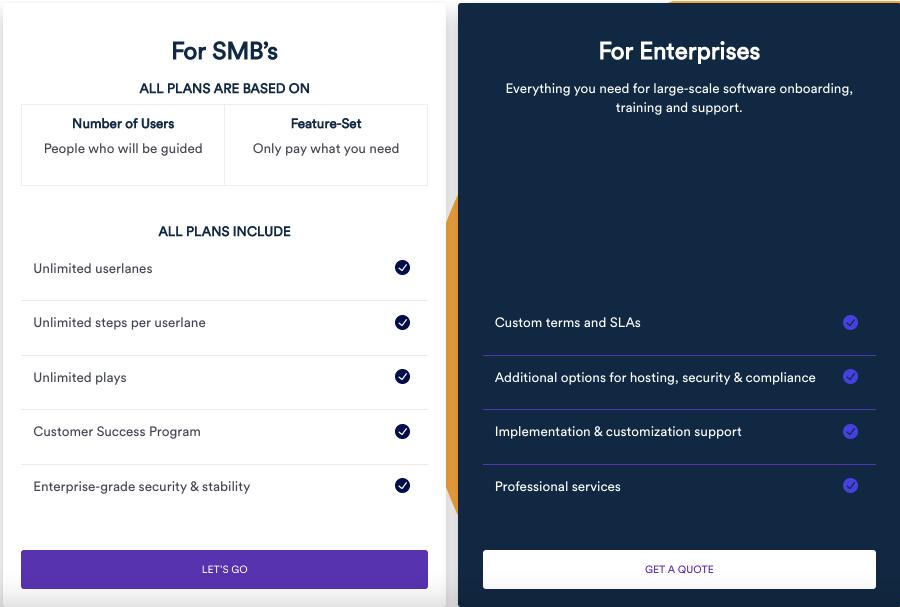 Userlane pricing screenshot