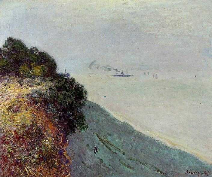 'Cliffs at Penarth, Evening, Low Tide' by Alfred Sisley (1897)