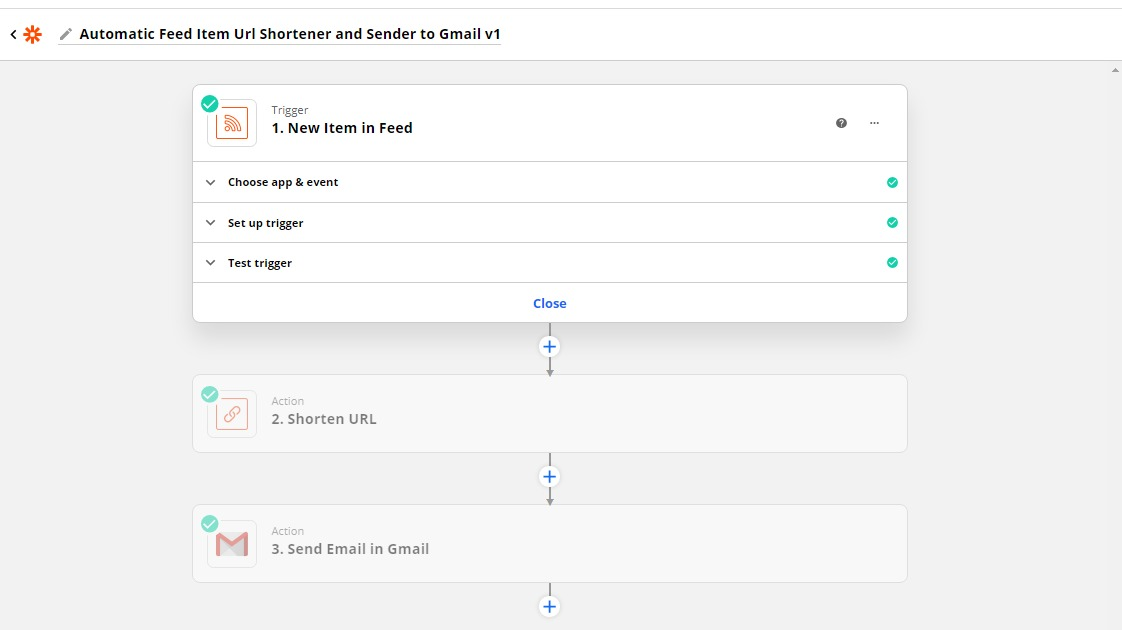 My Automatic Feed Item URL Shortener and Sender to Email