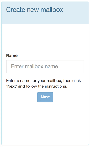 Enter a name for your mailbox