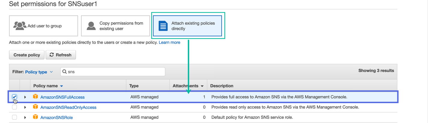 Attach Existing Policies Directly