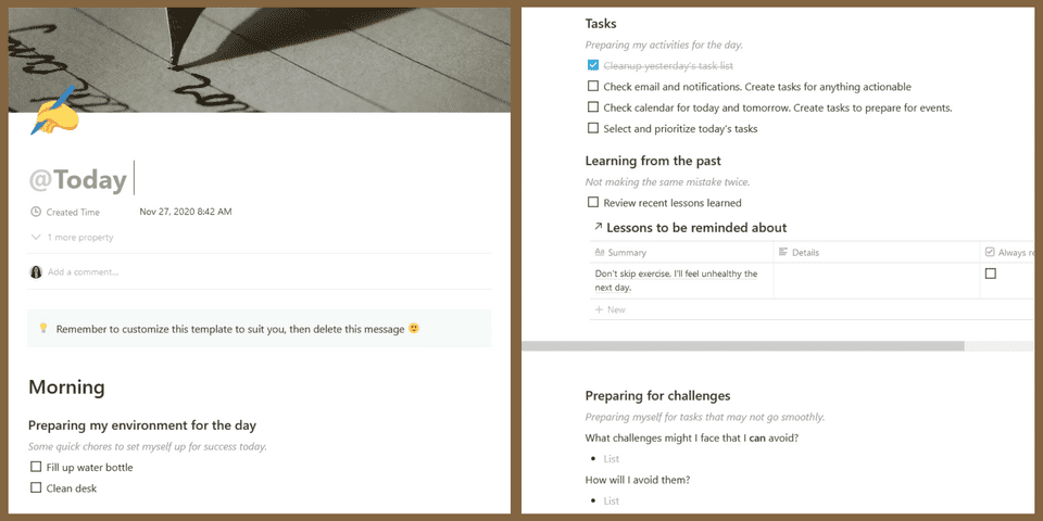 Screenshot of a Morning page in the Daily Plan and Review template with reminders of tasks to do, lessons I've learned, and questions about how I'll prepare for the day