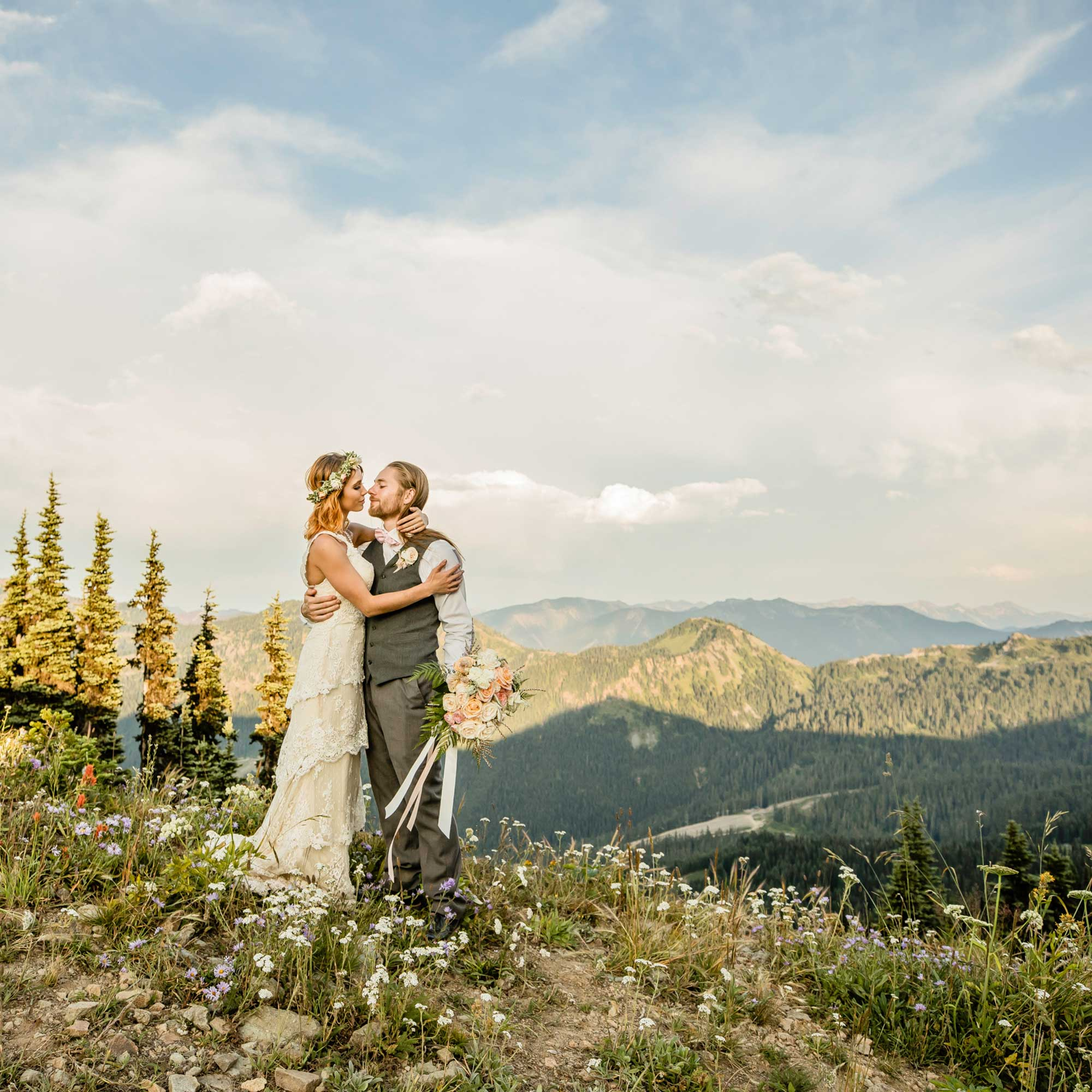 Wedding with wildflowers