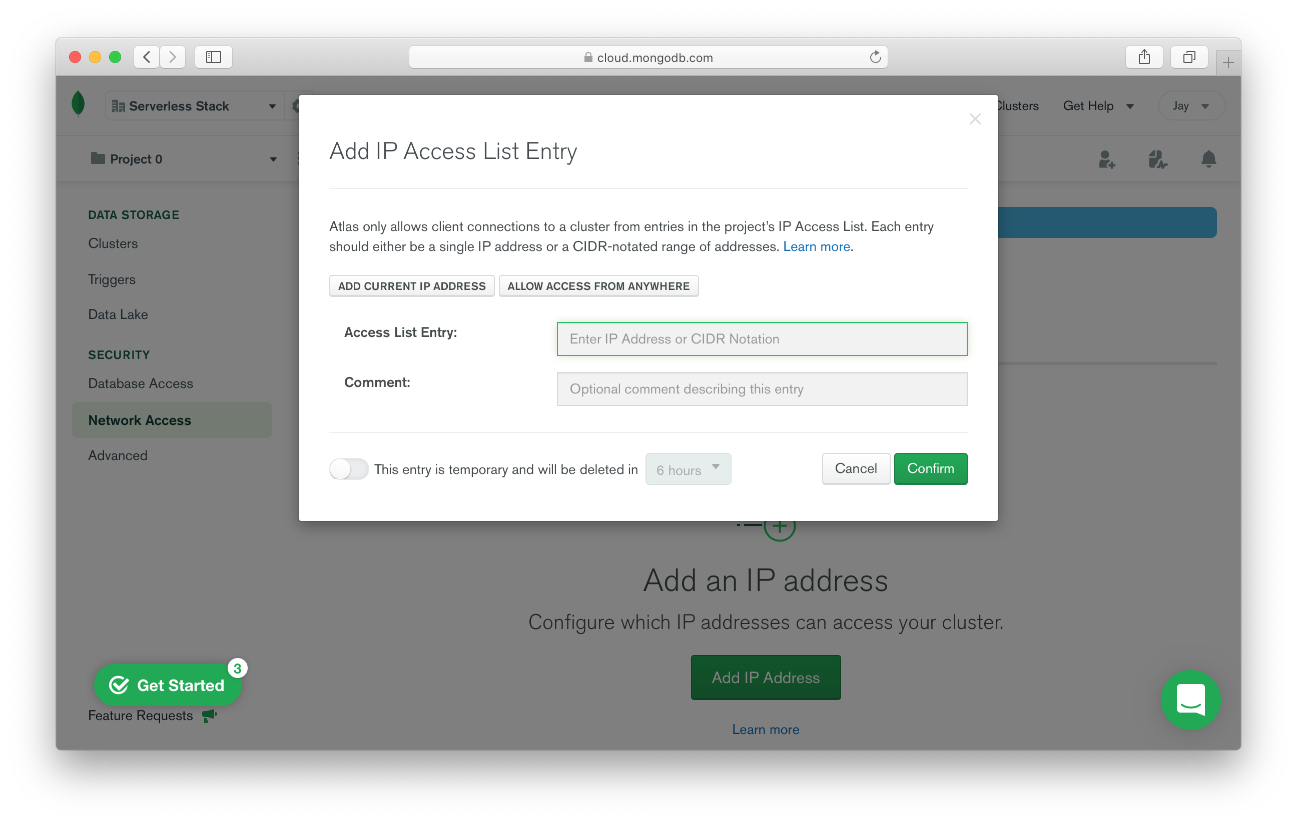 Allow access to the database from anywhere