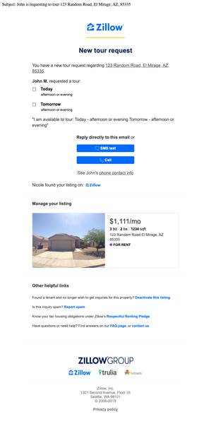 Zillow Tour Request email sample