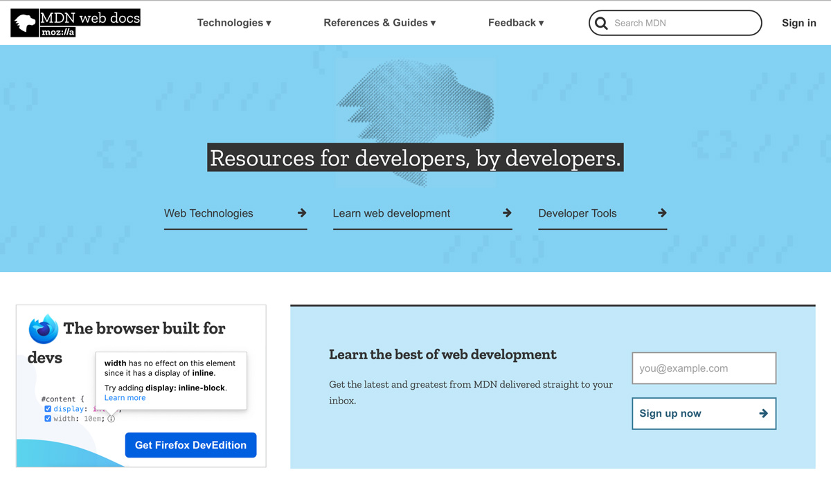 Mozilla Development Network home page