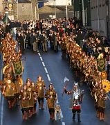 Guizer Jarl Roy Leask leads his 2008 Jarl Squad in the Marching on Tuesday morning. Photo courtesy of Millgaet media.