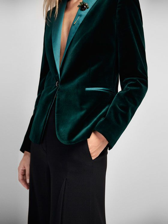 Veste tailleur velours vert