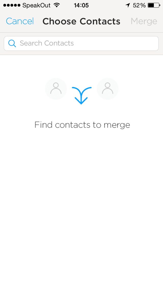Screenshot of No contacts to merge
