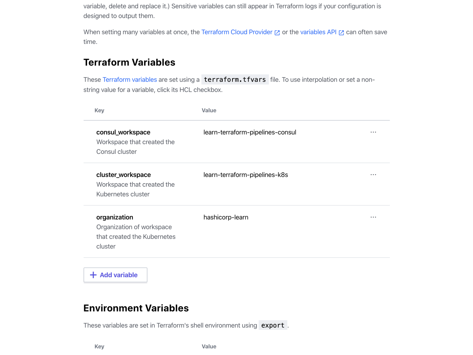 Terraform Cloud Vault Workspace fully configured Terraform variables