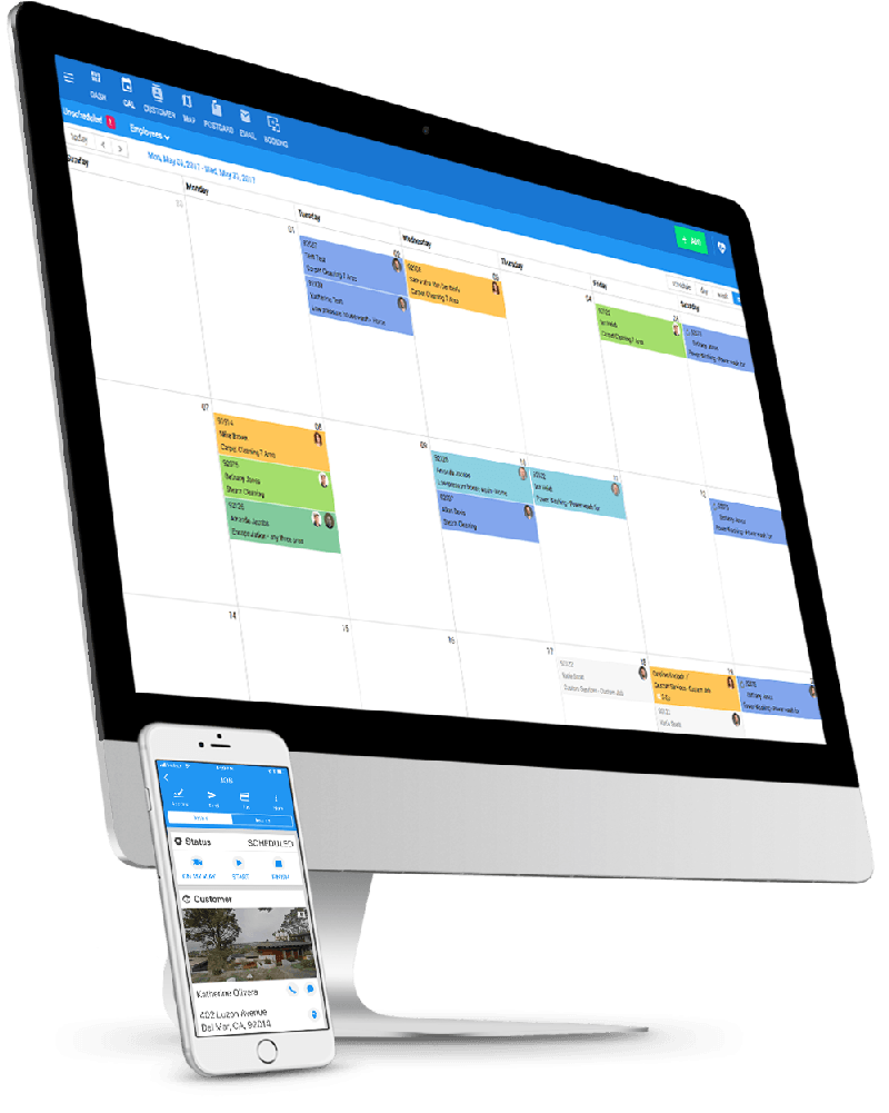 Apple Macbook with Housecall Pro Calendar Details Page and Apple iPhone with Housecall Pro Job Details Page
