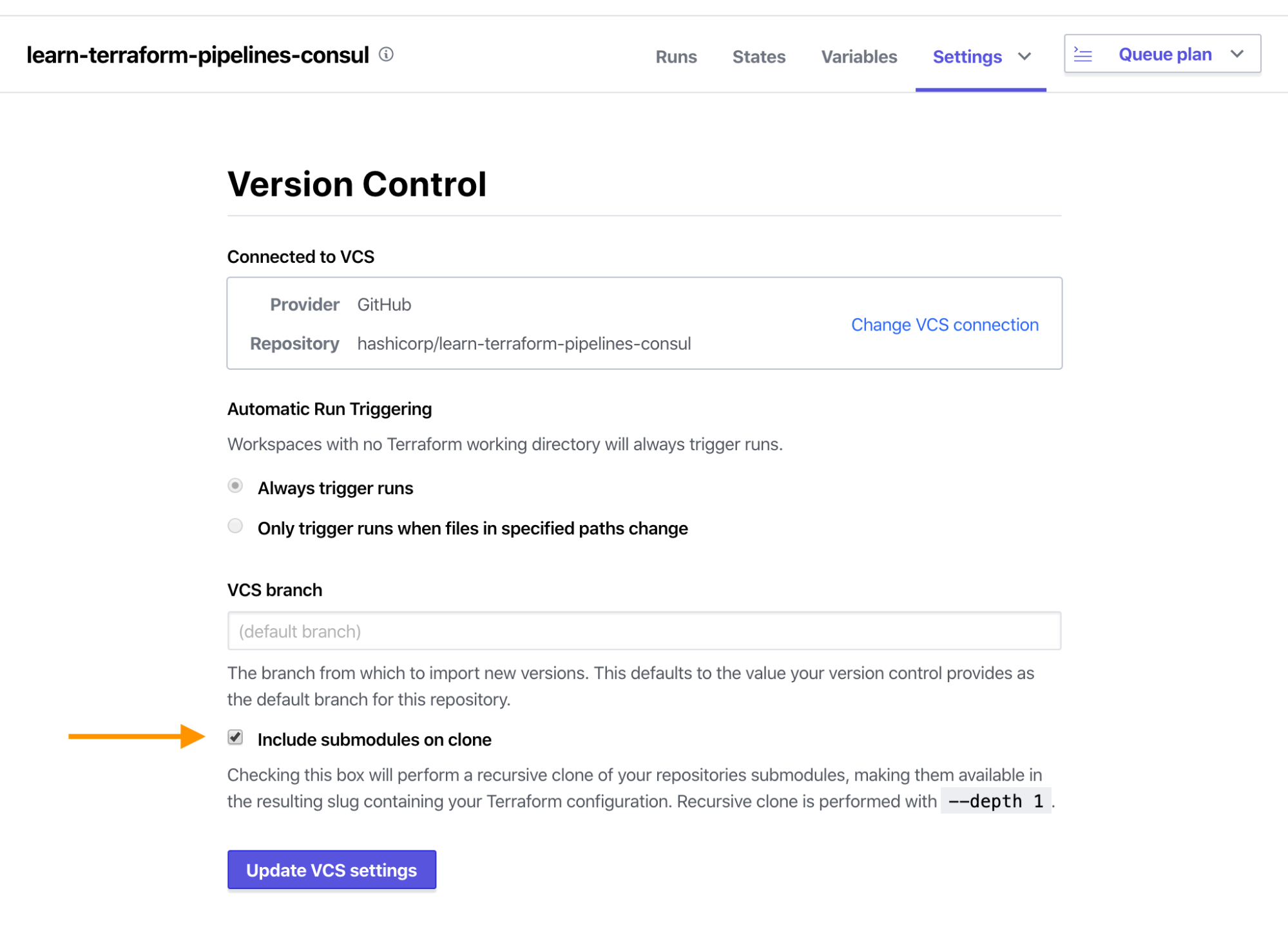 Terraform Cloud Kubernetes Workspace fully configured version control version. Include submodules on clone option has been ticked.