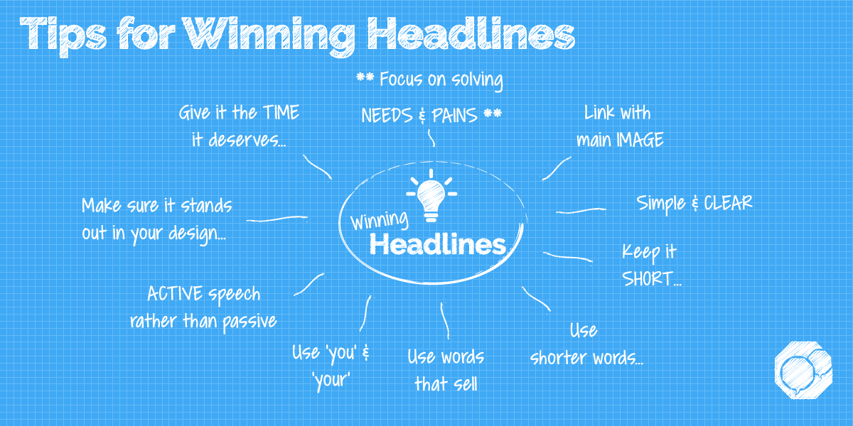 Image of spider chart of tips for winning headlines for your graphic design