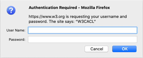 Default browser dialog box requiring the user to authenticate.