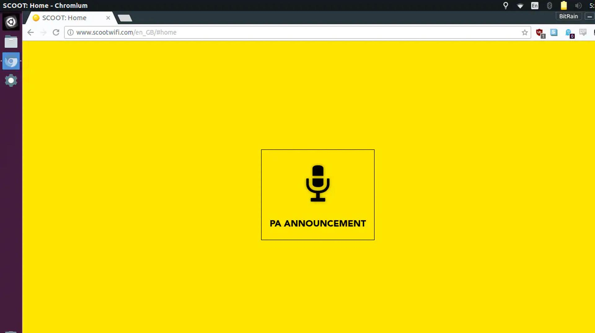 PA Announcement screen in browser