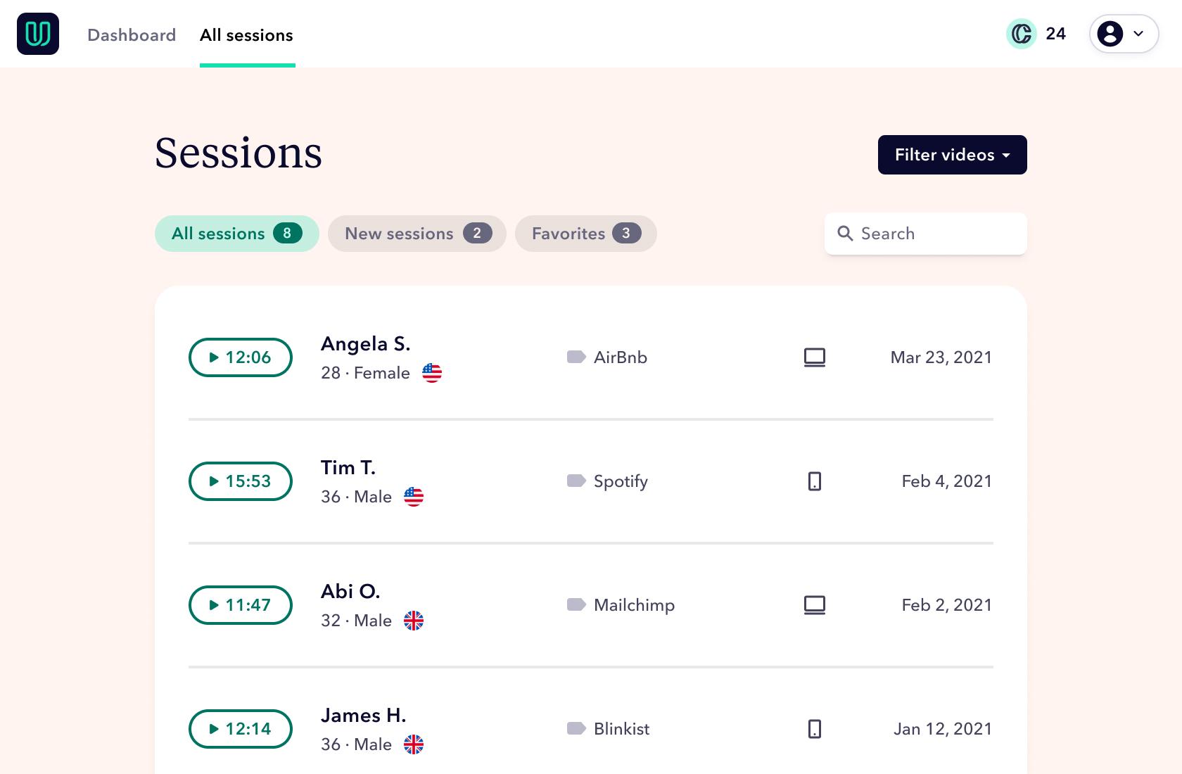 Screenshot of Userbrain: New sessions