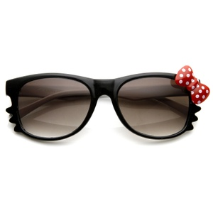 Hello Kitty White Black Red Polka Dot Bow Sunglasses