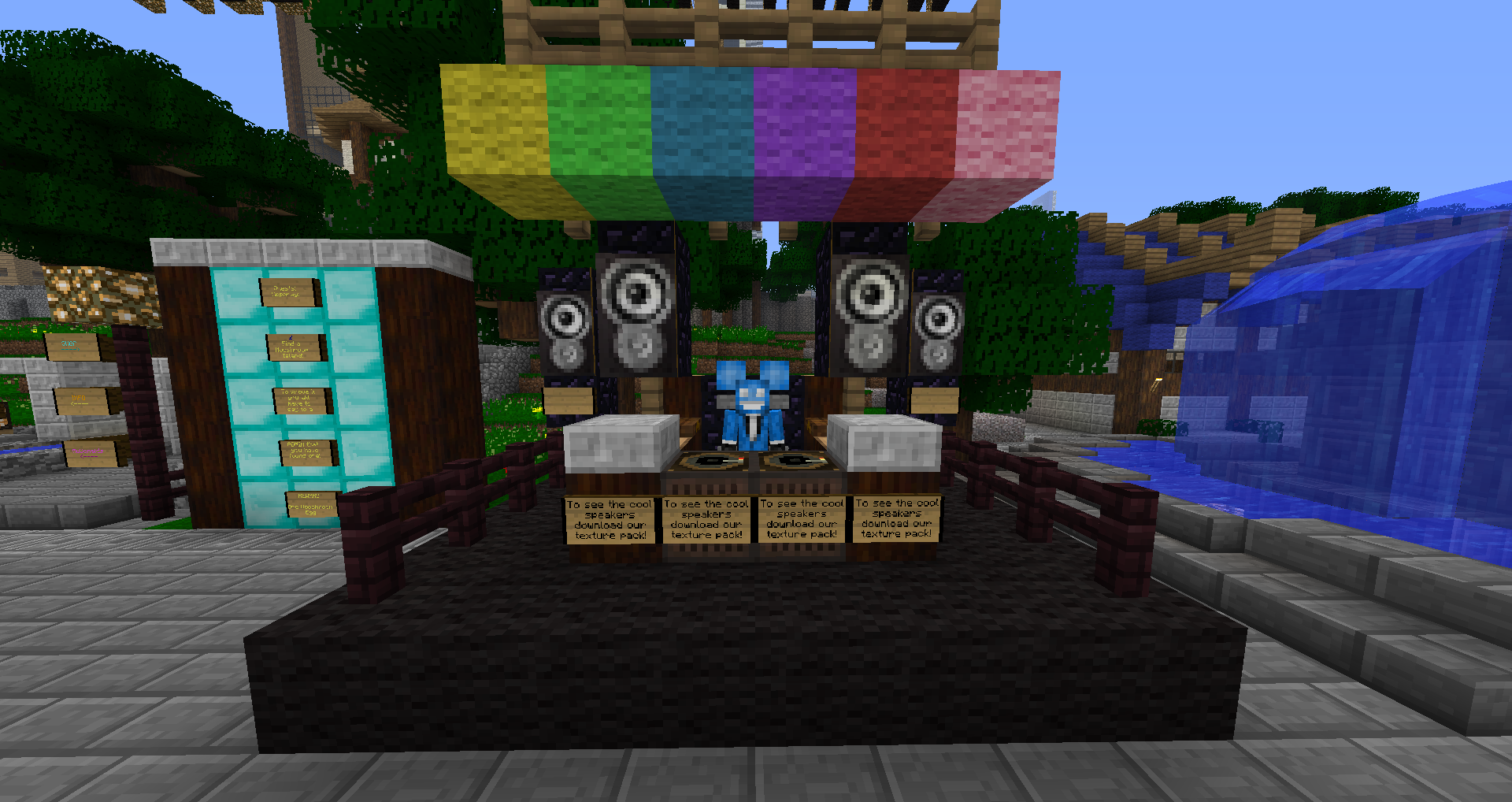 A picture showing a DJ performing from the minecraft server MuCraft 2012