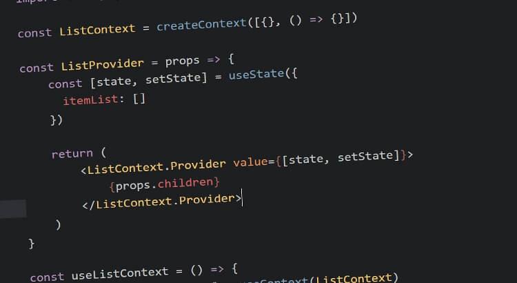 React Context screenshot from example code