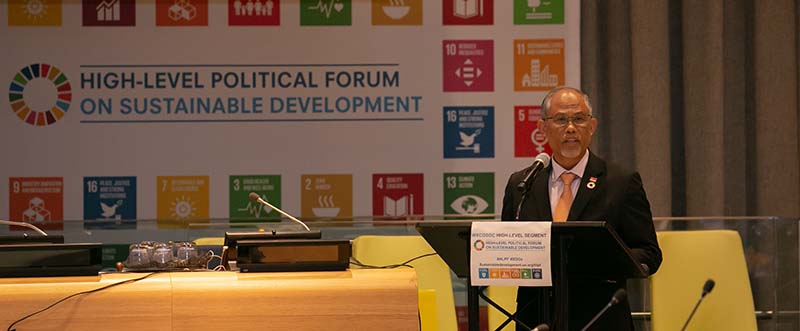 Photo of Minister Masagos Zulkifli at the 2018 United Nations High-Level Political Forum on Sustainable Development