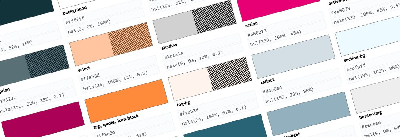 Sample organized color swatches with hex and hsl values
