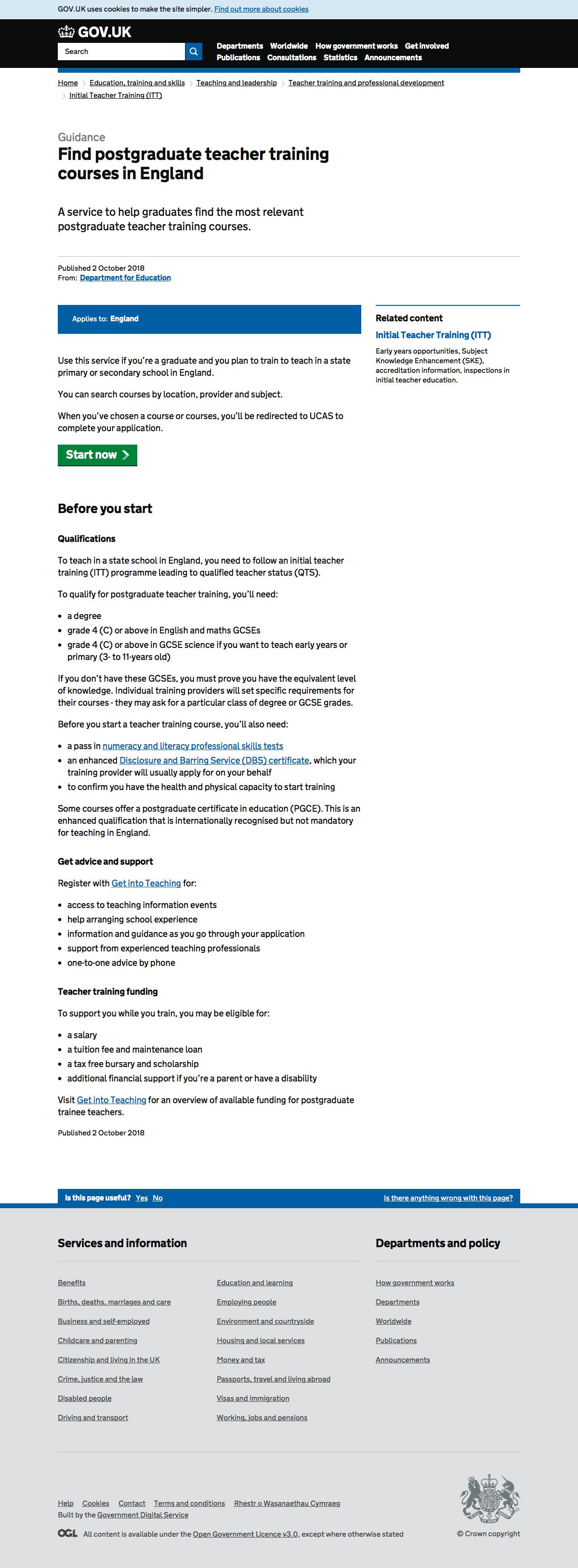 Screenshot of GOV.UK start page
