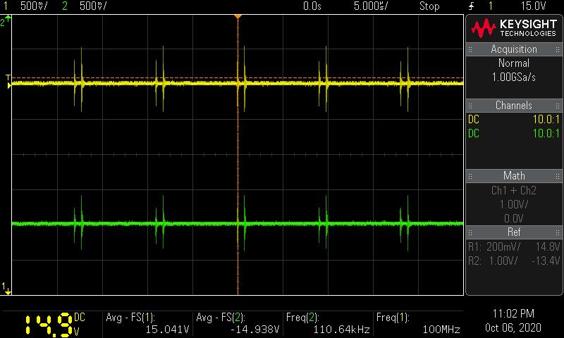 +-15V電源測定波形