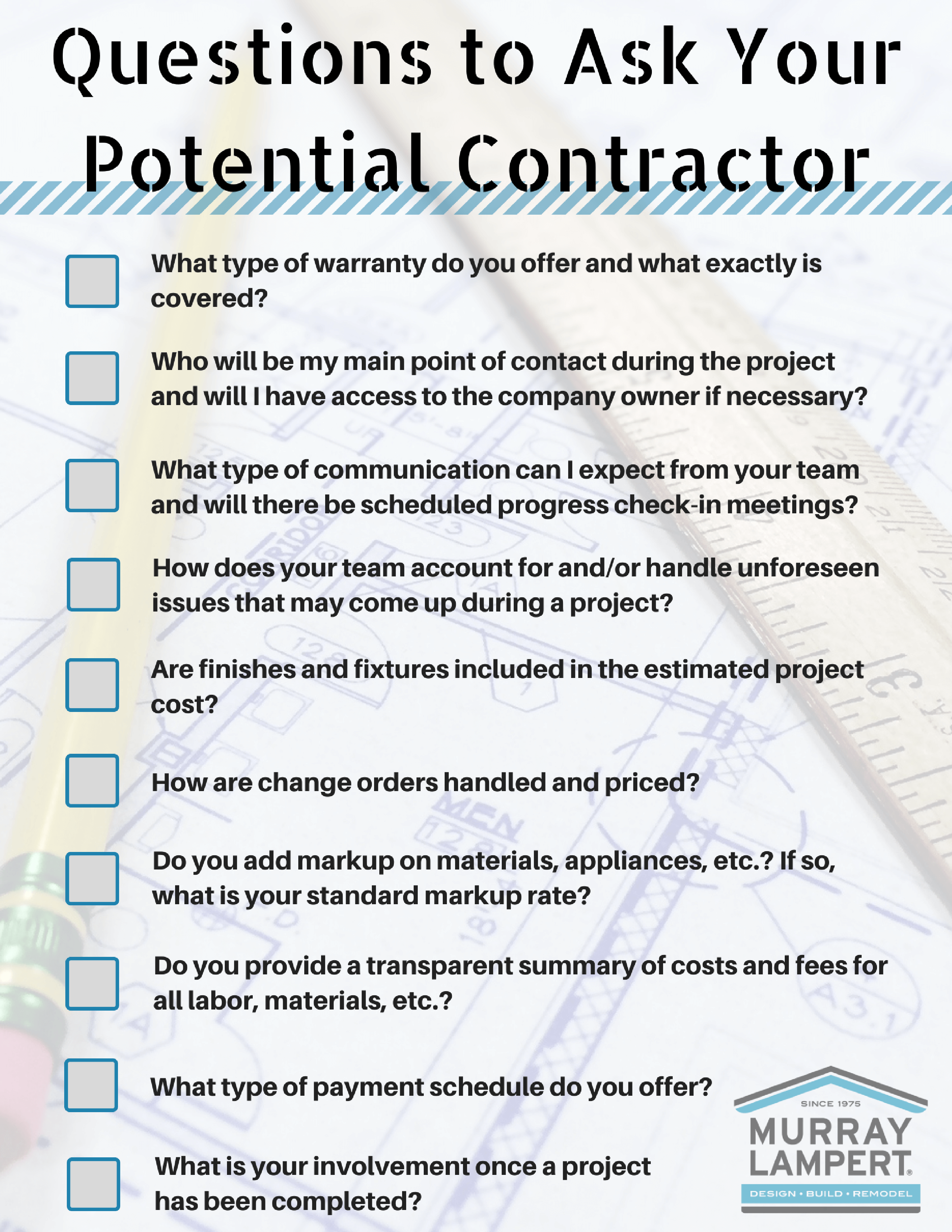 list of questions to ask your potential contractor