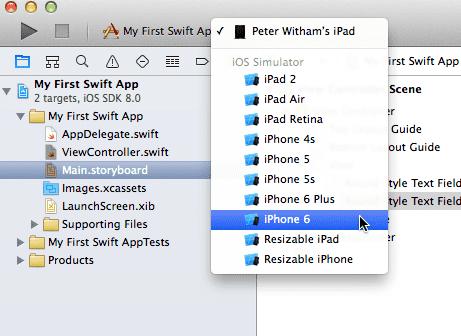 Xcode 6 - Select Simulator