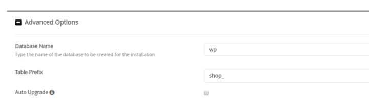 WordPress database config softaculous