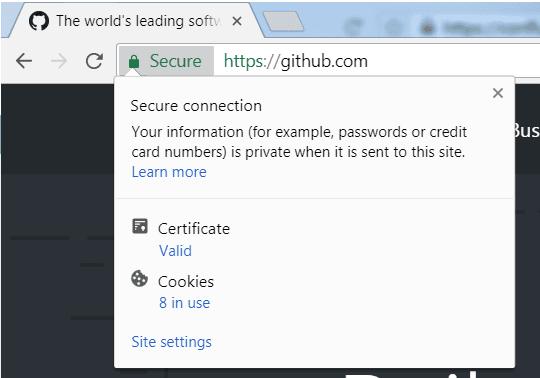 Click Chrome secure tab in address bar