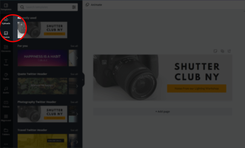 """Select """"Uploads"""" on Canva to upload your Twitter banner template image."""