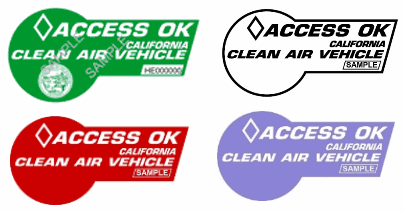 Green, White, Red and Purple decal samples for California clean air vehicles